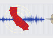 California Earthquake Concept Vector EPS10 and Raster. Illustration concept of a Califonia Quake with seismic waves drawn by a seismography machine pen on a stock illustration