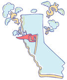 California Economics. State of the California economy with money flying away Royalty Free Stock Photo