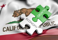 California economy and financial market growth GDP concept, 3D rendering. 3D render of two puzzles pieces with the words `economy` and `growth` lying on top of Royalty Free Stock Photos