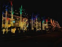 California festival of light. Multicolors of lights in Riverside royalty free stock photography