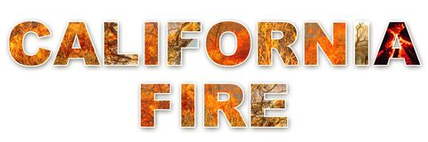 California Fire text background stock images