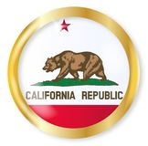 California Flag Button. California state flag button with a gold metal circular border over a white background Stock Photos