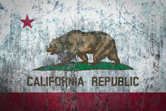 California Flag painted on a Wall. Ddistressed Painting of a Flag on an old Wall Stock Photos