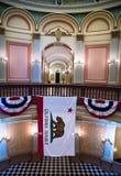 California flag in State Capitol, Sacramento. Rotunda inside California State Capitol, Sacramento, California royalty free stock photos
