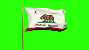 California flag waving in the wind. Green screen stock footage