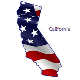 California full of American flag. Waving in the wind. The outline of the state Royalty Free Illustration