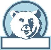 California Grizzly Bear Head Smiling Circle Retro Stock Photos