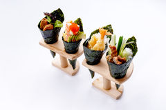 California Hand Roll Sushi Set. California Hand Roll Sushi Set : Foie Gras, Shrimp with Kani, Tamagoyaki, Avocado and Tobiko. Another is Shrimp Tempura and royalty free stock image