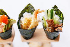 California Hand Roll Sushi Set : Shrimp Tempura and Crispy Tuna Skin with Sliced Cucumber. Stock Photography