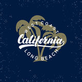 California hand written lettering with palms background. Royalty Free Stock Images
