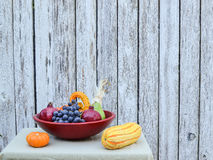 California harvest in wooden bowl Royalty Free Stock Images