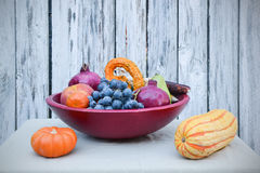 California harvest in wooden bowl Royalty Free Stock Photo