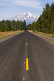 California Two Lane Highway Leads Rugged Mt Shasta Stock Photos