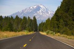 California Highway Heads Toward Mountain Landscape Mt Shasta Royalty Free Stock Photo