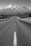 California Highway Heads Toward Mountain Landscape Mt Shasta Cascade Range Stock Image