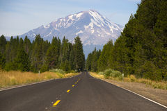 California Highway Heads Toward Mountain Landscape Mt Shasta Royalty Free Stock Photo