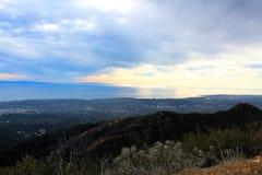 California highway 1 one Pacific ocean. California blue sky on the coast near Santa Barbara mountains royalty free stock photos