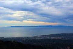 California highway 1 one Pacific ocean. California blue sky on the coast near Santa Barbara mountains channel islands stock photography