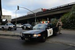 California Highway Patrol Cruiser. Blocking freeway entrance Royalty Free Stock Photos