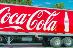 CALIFORNIA - JULY 31, 2017: Coca Cola ads on a truck side. Coca-Cola is a soft drink sold around the world by. The Coca-Cola Company royalty free stock photography