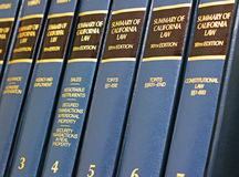 California Law Books. A shelf of California state law summary books.  The State of California is known for its unique, peculiar and complicated law and Stock Photo