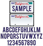 California License Plate. With isolated letters