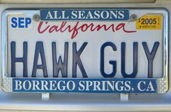 California license plate reads �Hawk Guy� Stock Photo