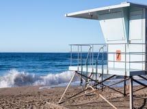 California lifeguard post on sandy beach. Blue lifeguard hut on Sycamore Canyon beach in Southern California Stock Photography