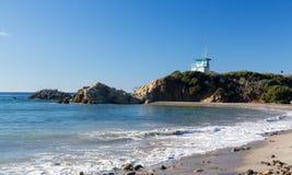 California lifeguard post on sandy beach. Blue lifeguard hut on Leo Carrillo state beach in Southern California Stock Photos