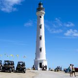 California Lighthouse with ATV cars, Quads, Aruba stock photos