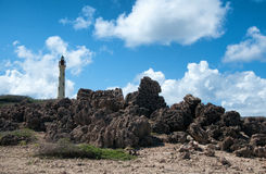 California Lighthouse Landmark on Aruba Caribbean Royalty Free Stock Images