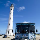 California Lighthouse with Snack and Bar Tram, Quads, Aruba Stock Photo