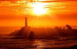 California Lighthouse Sunset Stock Photo