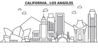 California Los Angeles architecture line skyline illustration. Linear vector cityscape with famous landmarks, city Stock Photos