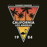 California, Los Angeles - grunge typography for design clothes, t-shirt with flamingo and palm trees. Form of a triangle. Graphics for print product, apparel Stock Illustration