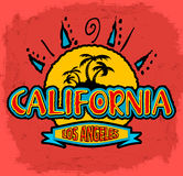 California - Los Angeles - vector badge - emblem. Summer tropical heat print Stock Photography