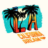 California, Los Angeles Vector Illustration with Palms, Vintage Design Royalty Free Stock Photos