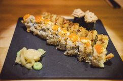California maki roll. With white and black sesame royalty free stock photo