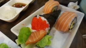 California Maki. And Samon sushi roll Royalty Free Stock Photos