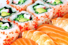 California maki and sushi close up Royalty Free Stock Images