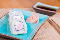 California maki sushi with crab meat on plate Royalty Free Stock Photography
