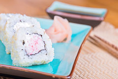 California maki sushi with crab meat on plate Stock Photography