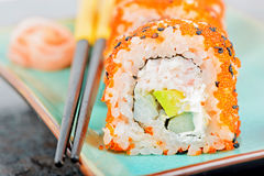 California maki sushi with masago and ginger Stock Photography