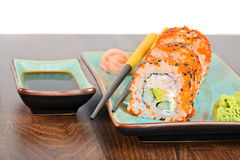 California maki sushi with masago and ginger Stock Photos