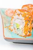 California maki sushi with masago and ginger Stock Images
