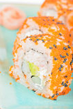 California maki sushi with masago and ginger Royalty Free Stock Photography