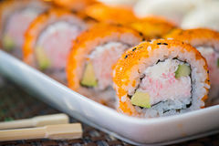California maki sushi with orange masago Royalty Free Stock Images