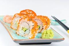 California maki sushi with orange masago Stock Image