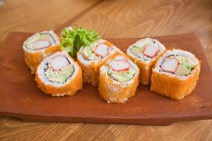 California maki sushi rolls, sushi rolls are traditional Japanese seafood stock images