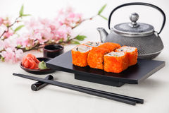 California Maki Sushi. With soy sauce and ginger stock images